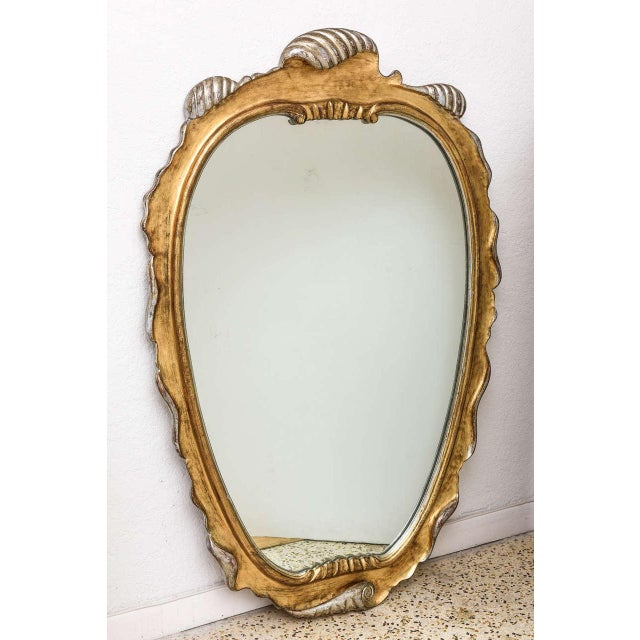 Hollywood Regency Style Gold and Silver Gilt-Wood Mirror For Sale - Image 9 of 10