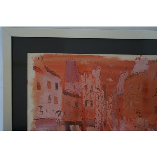 """Charles Levier Mid-Century Modern Levier """"Street Scene"""" Gouache and Watercolor Painting Signed in the Painting For Sale - Image 4 of 11"""