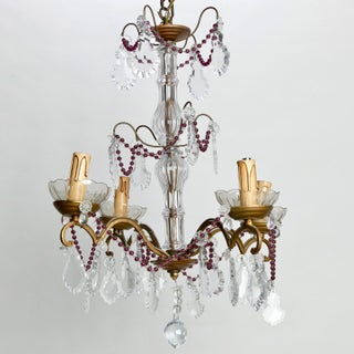 Four-Arm French Chandelier With Amethyst Beads & Pendalogue Crystals Preview
