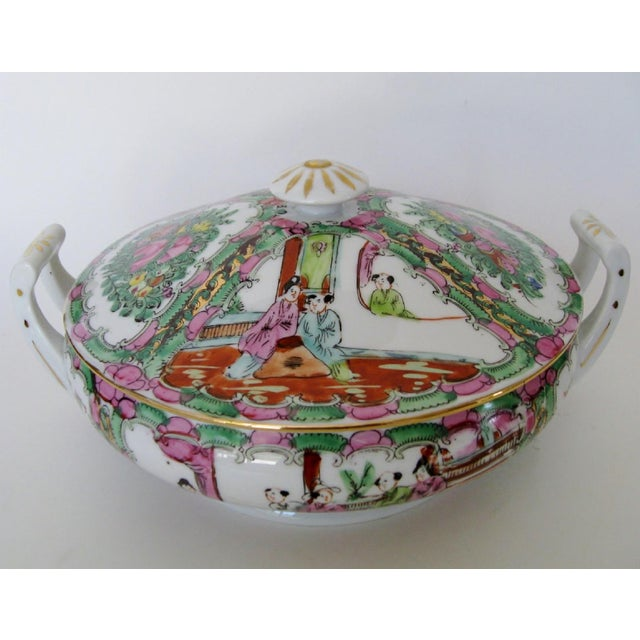Vintage Japanese hand-painted porcelain tureen in rose medallion motif, in white glaze with multi-color and gold accents....