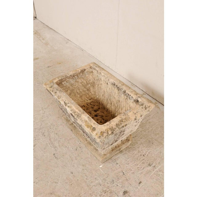 European Hand-Carved Rectangular Stone Planter With Chamfered Edges For Sale In Atlanta - Image 6 of 7