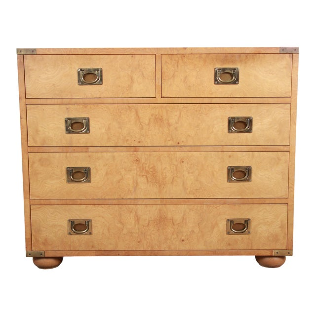 Henredon Burl Wood Campaign Style Five-Drawer Dresser Chest For Sale