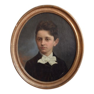 Antique Oil on Board Portrait of a Boy For Sale