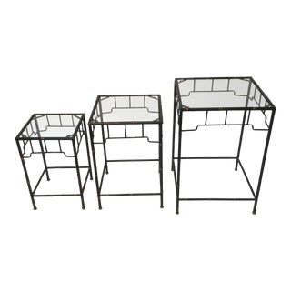 1980s Italian Faux- Bamboo Metal Nesting Tables - Set of 3 For Sale