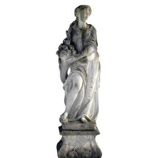 1900s Vintage Weathered Female Cast Stone Garden Statue For Sale