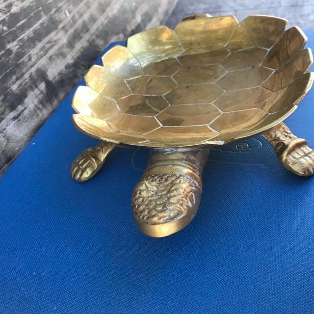 Large Vintage Solid Brass Turtle Catchall Tray Trinket Dish For Sale In Denver - Image 6 of 10