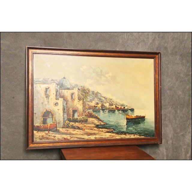 Vintage Impressionist Oil Painting of European Seascape - Image 5 of 11