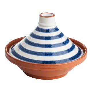 Blue & White Striped Tagine For Sale
