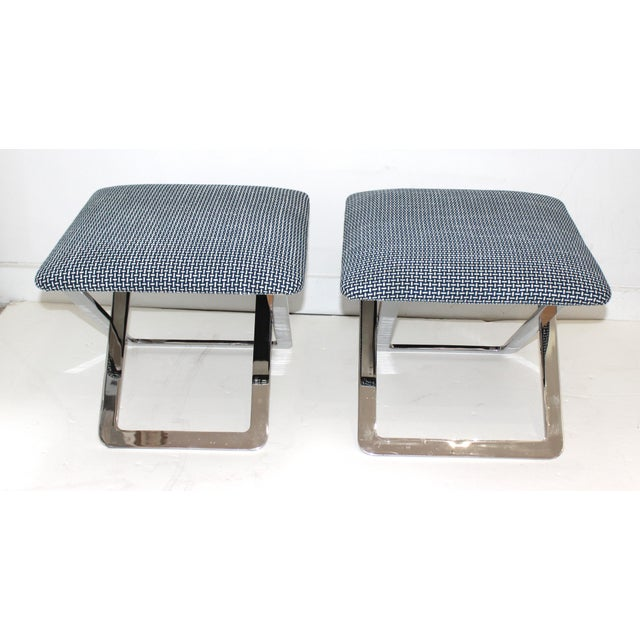 1970s Mid-Century Modern Milo Baughman Attributed X-Stools - a Pair For Sale - Image 5 of 11
