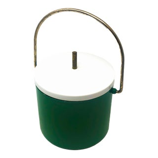 Mid-Century Modern Green and White Ice Bucket For Sale