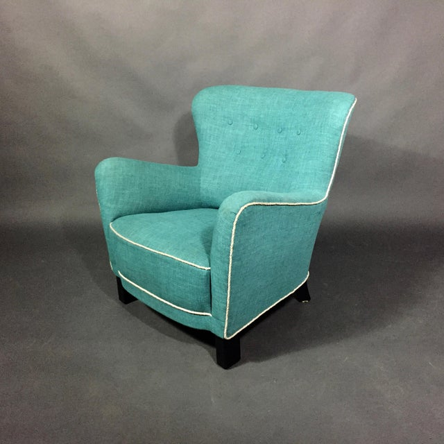 1930s Late 1930s Danish Buttoned Armchair With Turquoise Upholstery For Sale - Image 5 of 10