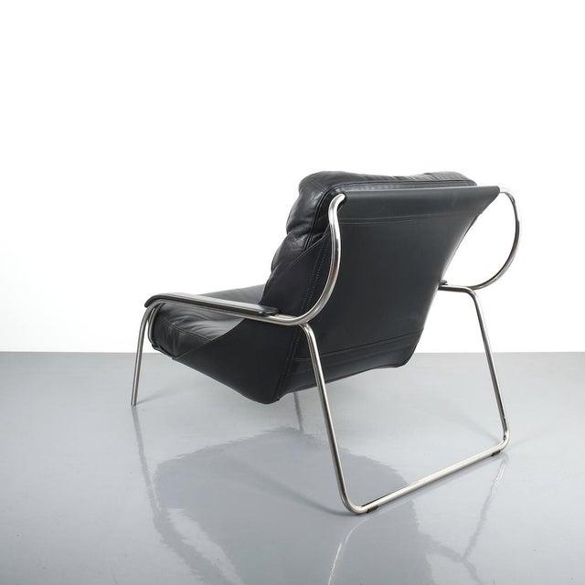 Zanotta Marco Zanuso Maggiolina Sling Black Leather Chair by Zanotta, 1947 For Sale - Image 4 of 11