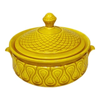 Mid-Century Mustard Yellow Casserole Dish For Sale