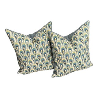 Abstracted Raindrop Pillows in Gradient Blue & Chartreuse, a Pair For Sale