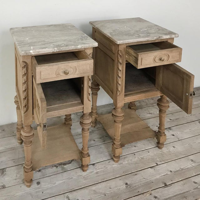Pair Antique French Louis XVI Stripped Marble Top Nightstands For Sale In Dallas - Image 6 of 12