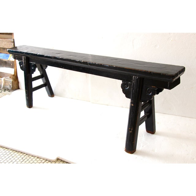 Hand Carved Chinese-Style Black Altar Bench - Image 5 of 8