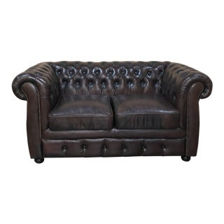 Vintage Chesterfield Two-Seat Brown Leather Sofa For Sale