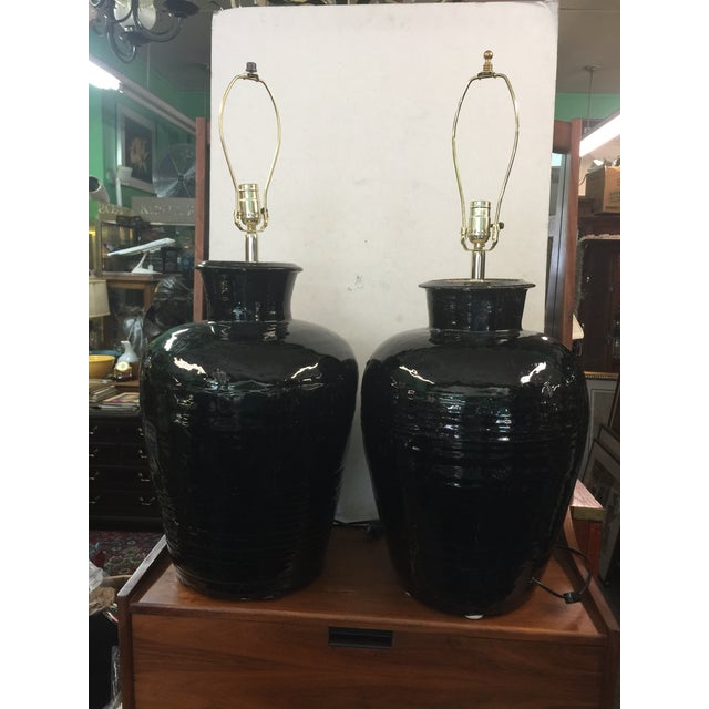 Ceramic Antique Storage Jar Lamps a Pair For Sale - Image 7 of 10