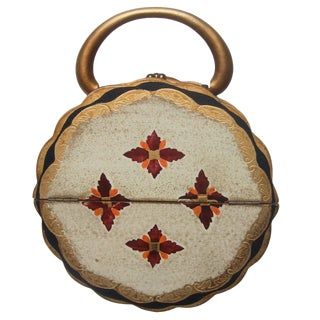 Florentine Style Wood Circular Handbag C 1960s For Sale