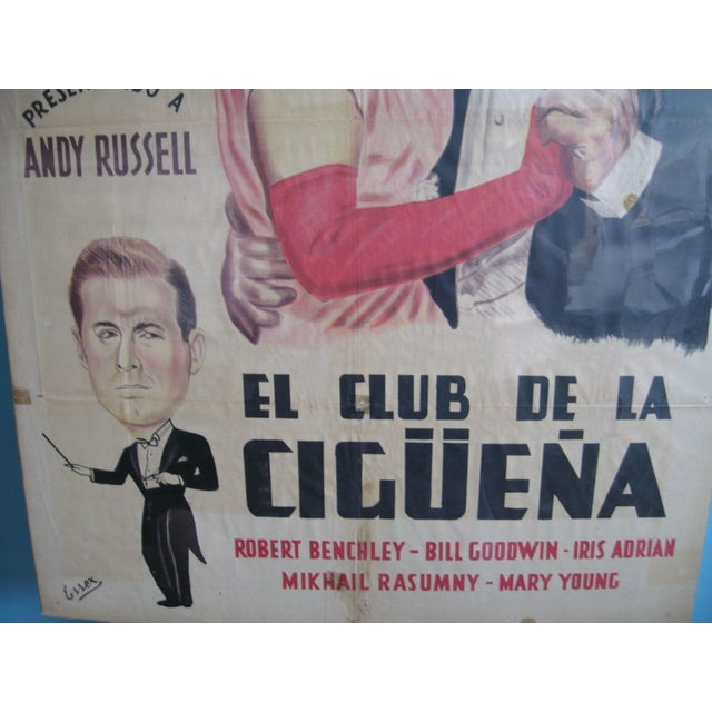 """Movie poster for El Club De La Ciguena """"The Stork Club"""" from 1945 starring Betty Hutton and Barry Fitzgerald."""