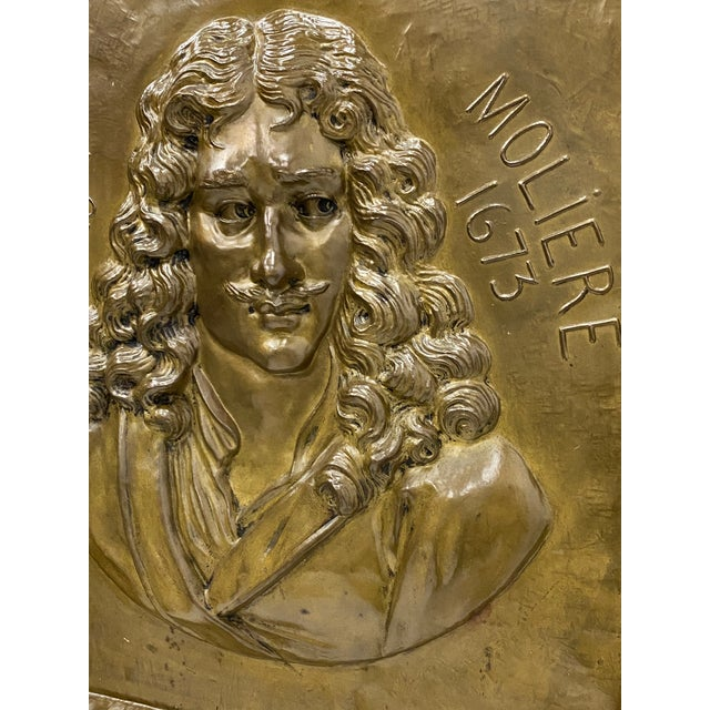 French Handmade Brass Plaque of Poet Moliere For Sale - Image 3 of 8