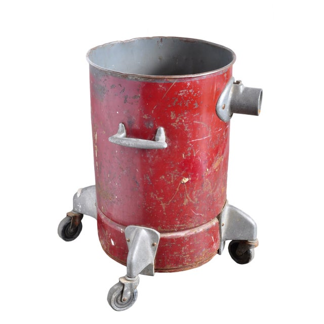 Vintage Red Steel Can on Casters - Image 1 of 3