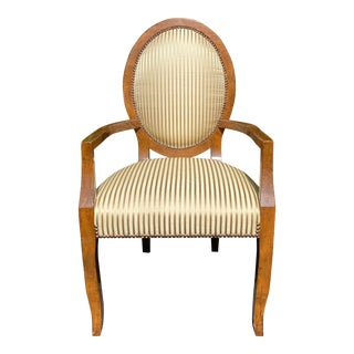 Vintage Rose Tarlow Balloon Back Arm Chair W J. Robert Scott Silk Stripe For Sale