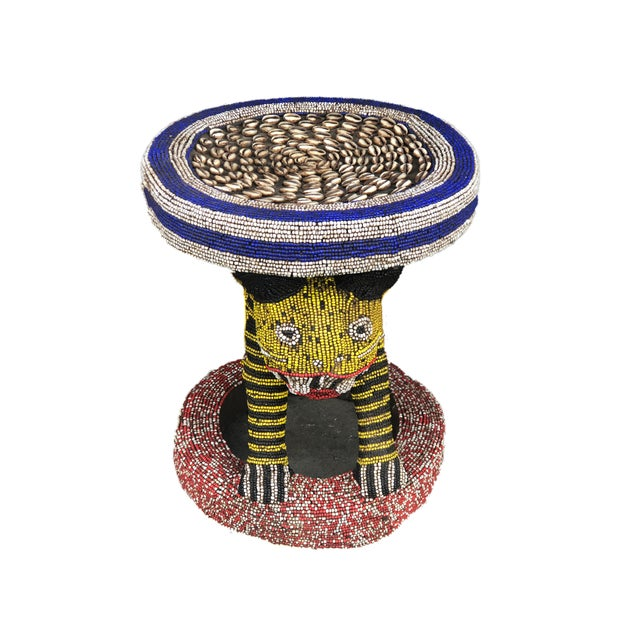 """African Lg African Beaded Wood Bamileke Stool /Table Cameroon 18.25'""""h For Sale - Image 3 of 9"""