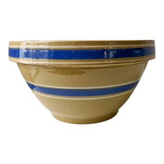 Vintage Rustic Farmhouse Stoneware Blue Stripe Mixing Bowl For Sale