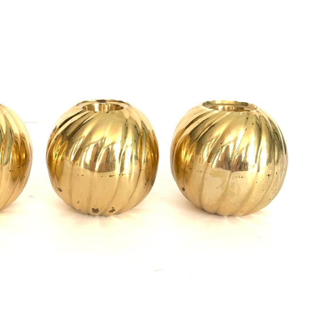 Modern 1970s Modern Brass Candle Holder - Set of 3 For Sale - Image 3 of 9