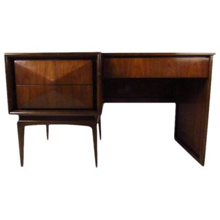 Vladimir Kagan Style Diamond Front Writing Desk For Sale