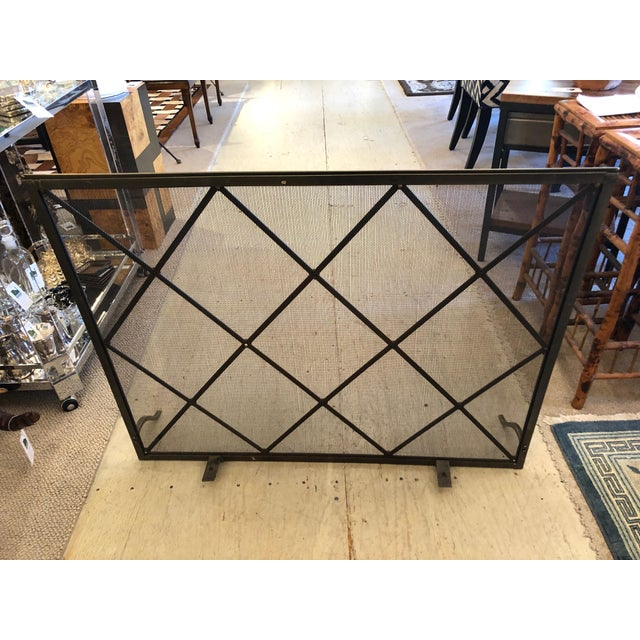 Gold Handsome Large Fireplace Screen For Sale - Image 8 of 11