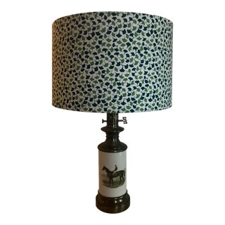 1960s Madcap Cottage Jockey-Themed Table Lamp With Madcap Cottage Lampshade For Sale