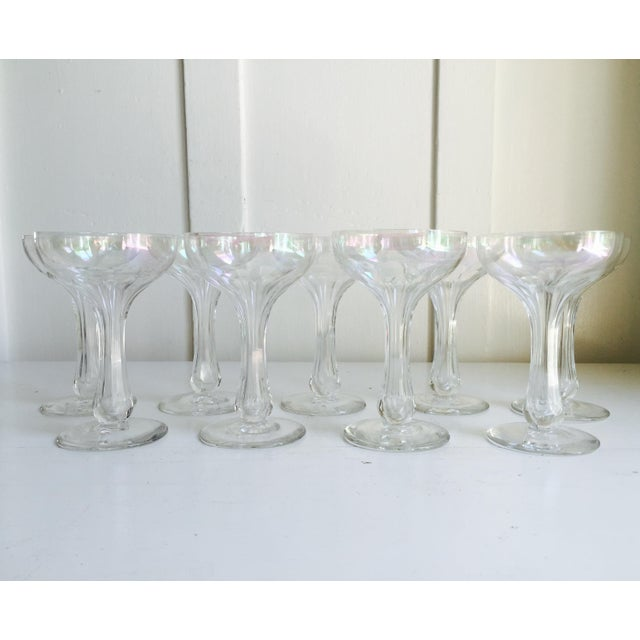 Vintage Iridescent Hollow Champagne Coupe Glasses - Set of 9 - Image 2 of 7