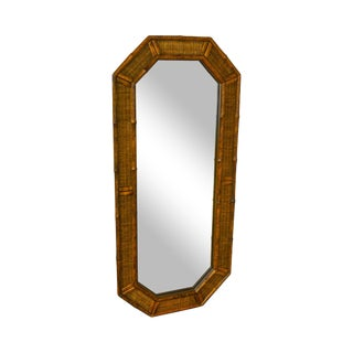 Faux Bamboo & Wicker Vintage Wall Mirror For Sale
