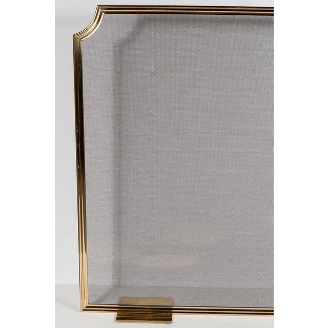 Modern Custom Modern Fire Screen in Polished Brass with Curved Corner Detail For Sale - Image 3 of 9