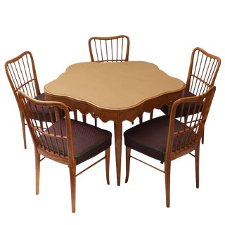 Italian Game Table With Five Chairs For Sale