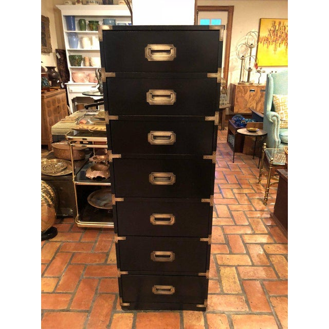 Black Campaign Brass Accent Highboy Chest For Sale - Image 5 of 11