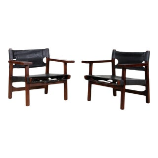 Pair of Sergio Rodrigues Styled Black Leather Campaign Chairs For Sale