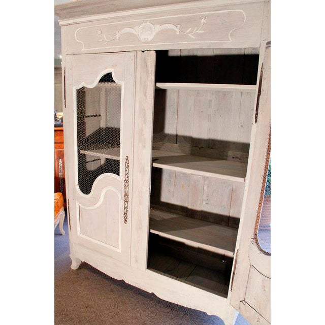 French Provincial Louis XV Style Grey Painted Armoire For Sale - Image 9 of 10