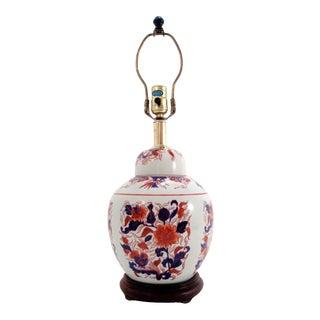 Vintage Asian Porcelain Ginger Jar Lamp For Sale