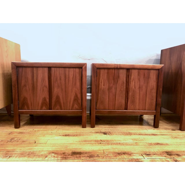 Pair of Mid Century Walnut Nightstands 196s For Sale - Image 10 of 11