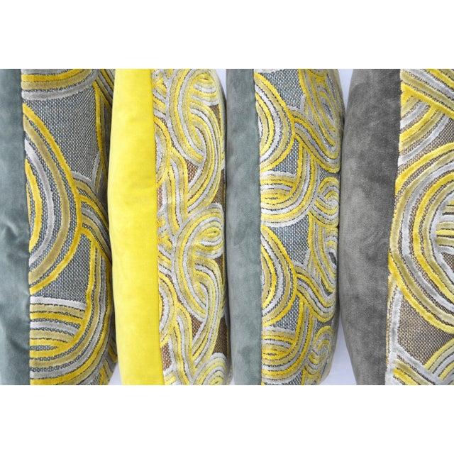 FirmaMenta Italian Damask Green & Yellow Velvet Pillow - Image 2 of 6