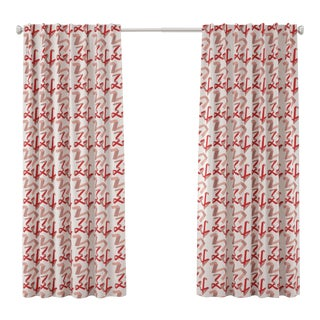 "84"" Blackout Curtain in Pink & Red Ribbon by Angela Chrusciaki Blehm for Chairish For Sale"
