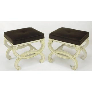 Pair of Regency Style Interlocking Curule Benches in Glazed Ivory & Sable Velvet Preview