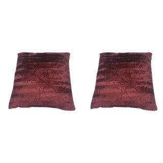 Merlot Crushed Velvet Pillows - A Pair