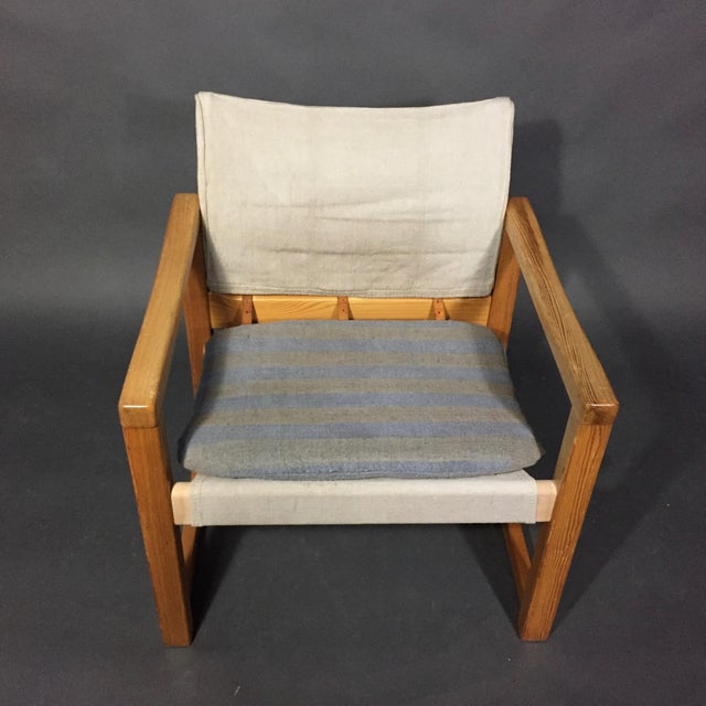 "Canvas Karin Mobring ""Diana"" Armchair, Pine & Canvas, Sweden 1970s For Sale - Image 7 of 12"