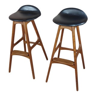 1960s Vintage Erik Buch for Oddense Maskinsnedkeri Teak Stools- A Pair For Sale