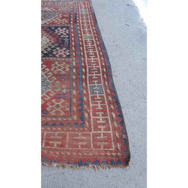 "Textile Antique Distressed Caucasian Kazak - 3'9""x7'6"" For Sale - Image 7 of 9"