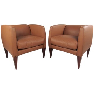 Pair of Contemporary Modern Italian Leather Club Chairs For Sale